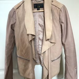 Soft pink luxurious real suede and leather jacket.